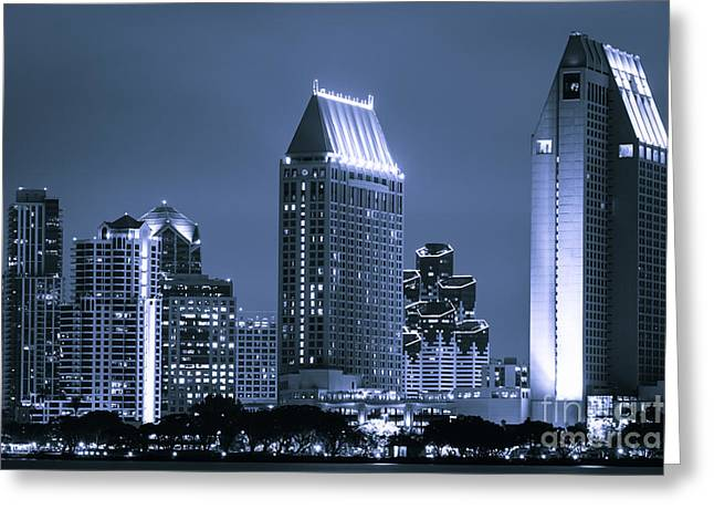 Picture of San Diego Night Skyline Greeting Card by Paul Velgos