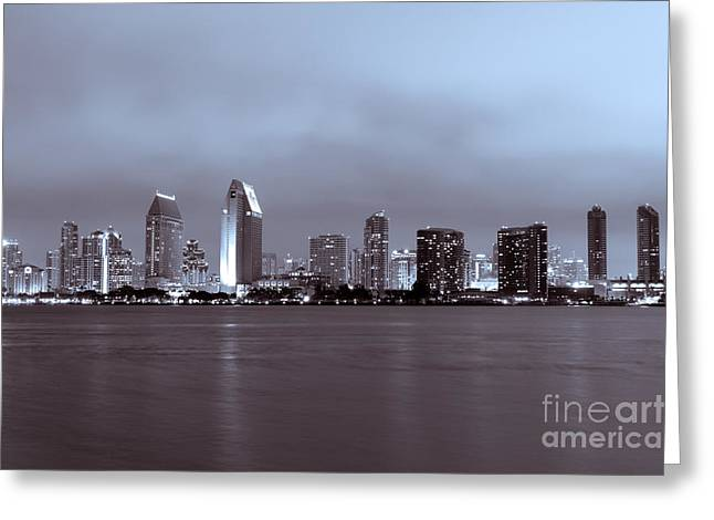 Dark Night Rises Greeting Cards - Picture of San Diego Skyline at Night Greeting Card by Paul Velgos