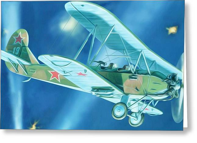 Technical Paintings Greeting Cards - Picture of the biplane Greeting Card by Lanjee Chee
