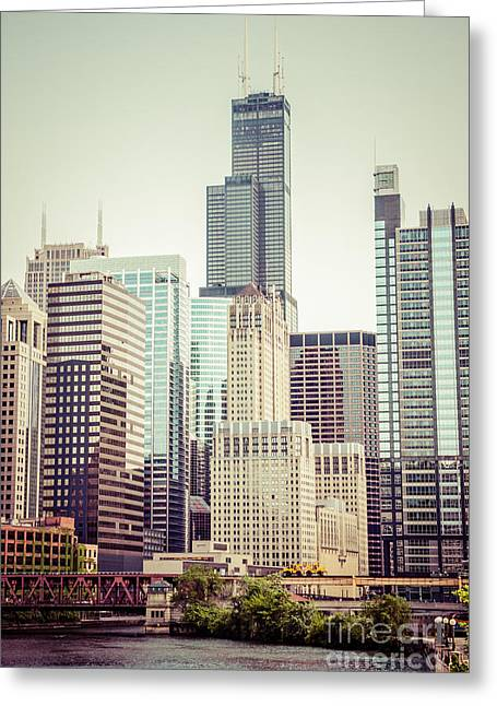 Riverfront Greeting Cards - Picture of Vintage Chicago with Sears Willis Tower Greeting Card by Paul Velgos
