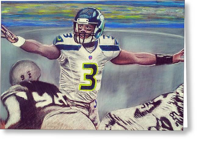 Quarterback Pastels Greeting Cards - Picture Perfect featuring Russell Wilson Greeting Card by D Rogale