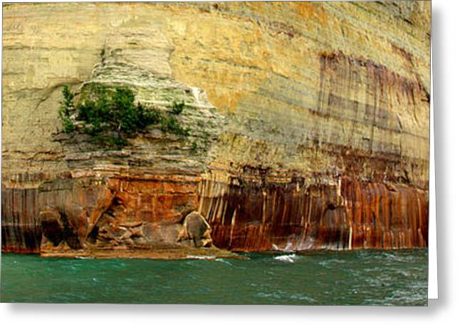 Blue Green Wave Greeting Cards - Pictured Rocks Greeting Card by Ed Smith