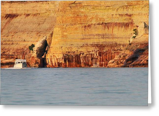 Sand Castles Greeting Cards - Pictured Rocks Boat Tour Greeting Card by Dan Sproul