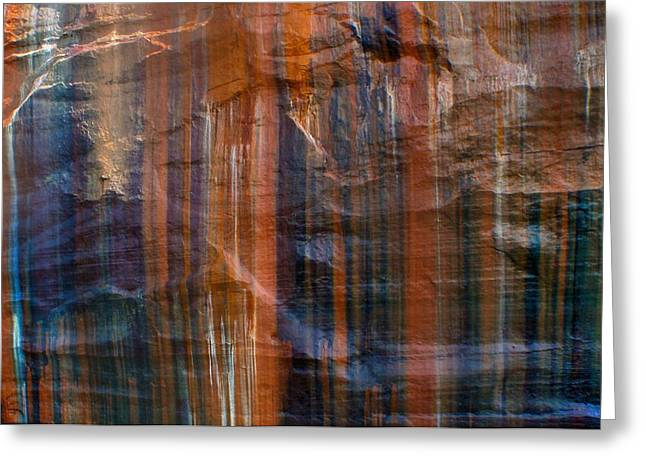 Abstract Picture Greeting Cards - Pictured Rocks Lines Of Color Greeting Card by Dan Sproul