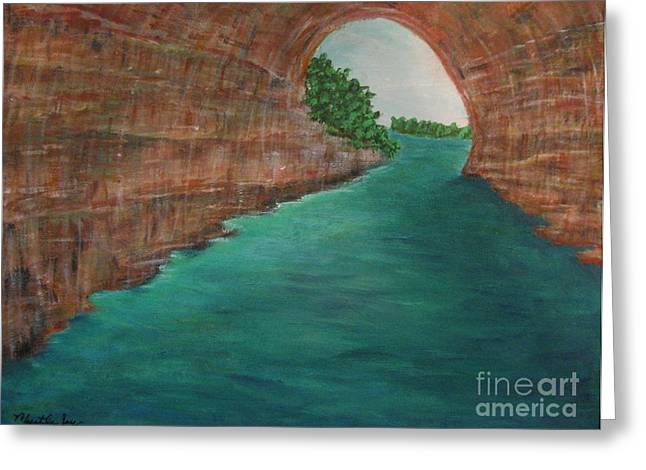 Wave Tunnel Picture Greeting Cards - Pictured Rocks MI Greeting Card by Myrtle Joy