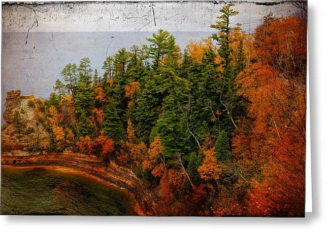 Tangerines Greeting Cards - Pictured Rocks Michigan with Tobacco Filter Greeting Card by Evie Carrier