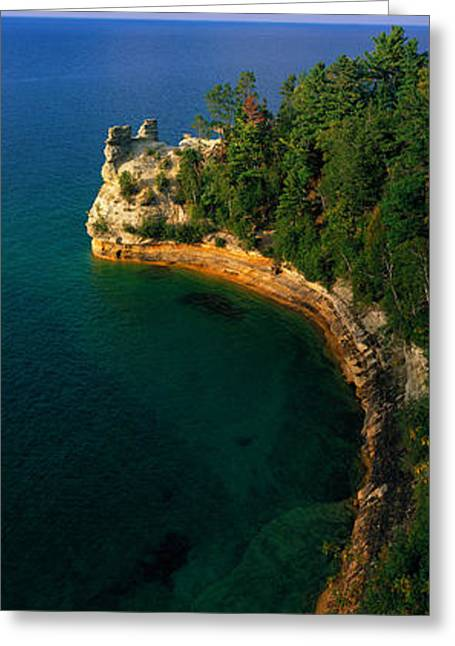 Upper Peninsula Greeting Cards - Pictured Rocks National Lake Shore Lake Greeting Card by Panoramic Images