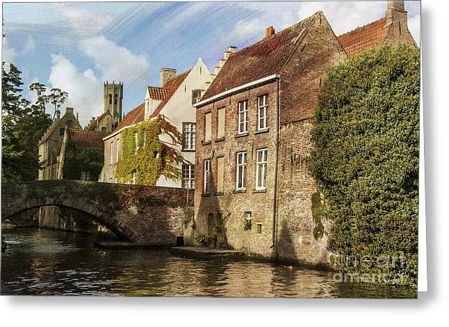 Stone Bridge Greeting Cards - Picturesque Bruges Greeting Card by Juli Scalzi