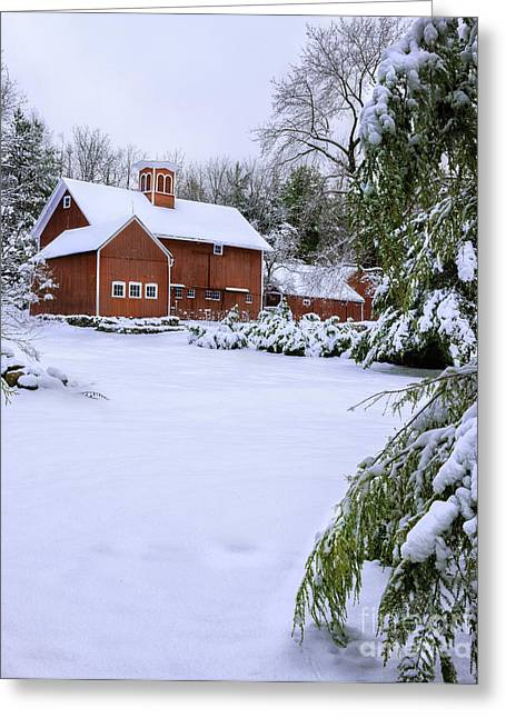 The Berkshires Greeting Cards - Picturesque Red New England Barn - Winter Portrait Greeting Card by Thomas Schoeller