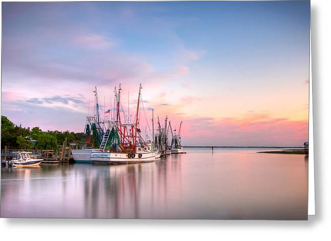 Recently Sold -  - Fishing Creek Greeting Cards - Picturesque Shem Creek Greeting Card by Walt  Baker