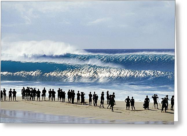 Big Surf Greeting Cards - Pipe Shadow land Greeting Card by Sean Davey