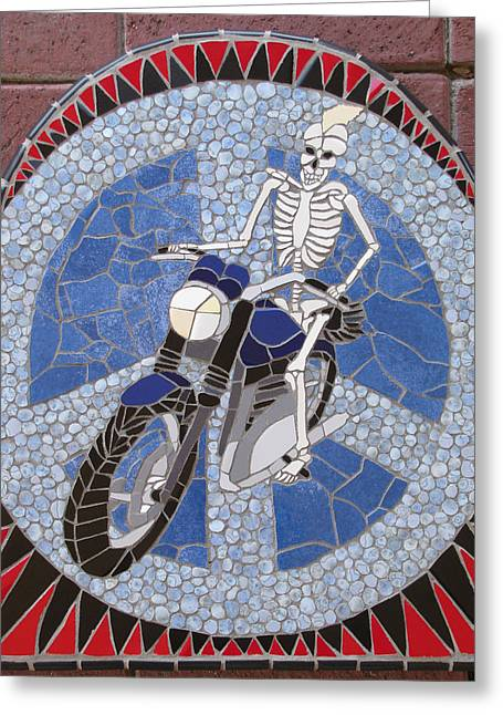 Transportation Ceramics Greeting Cards - Piece of Peace Greeting Card by Pj Flagg Tongue in Chic