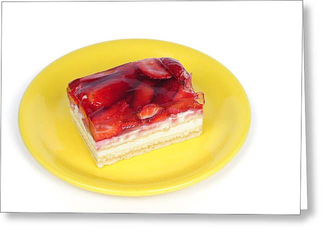 Strawberry Cakes Greeting Cards - Piece of strawberry cake Greeting Card by Matthias Hauser