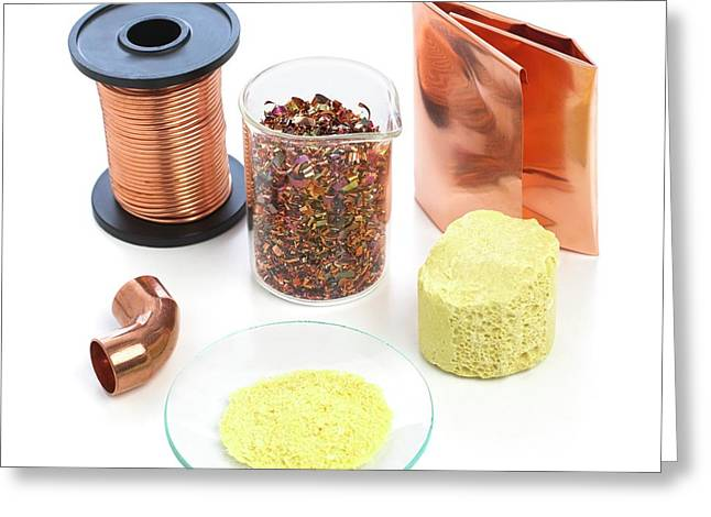 Pieces Of Copper And Sulphur Greeting Card by Science Photo Library