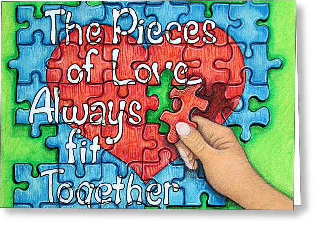 Pieces Of Love... Greeting Card by Cheryl Disque