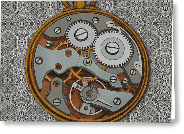 Steam Punk Greeting Cards - Pieces of Time Greeting Card by Meg Shearer
