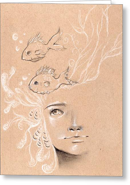 Conte Pencil Drawings Greeting Cards - Pieces of Time Greeting Card by Michelle Erin Dominado