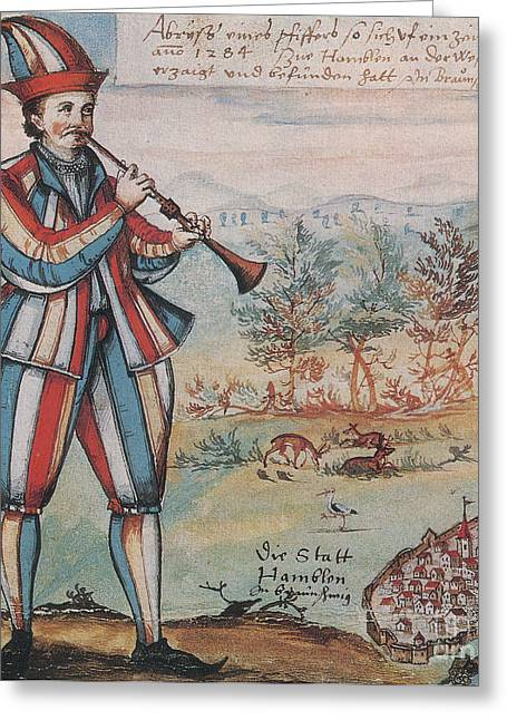 Pied Piper Of Hamelin, German Legend Greeting Card by Photo Researchers