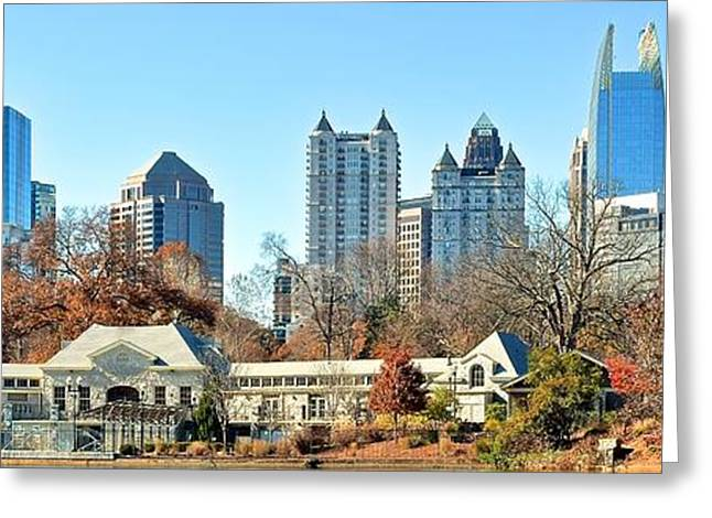 Augusta National Golf Greeting Cards - Piedmont Park Panoramic View of Atlanta Greeting Card by Frozen in Time Fine Art Photography