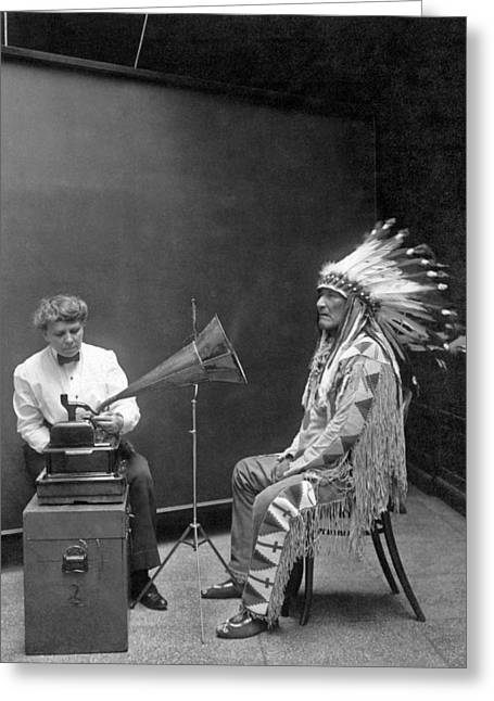 Voice Dialogue Greeting Cards - Piegan Chief Having Voice Recorded Greeting Card by Underwood Archives