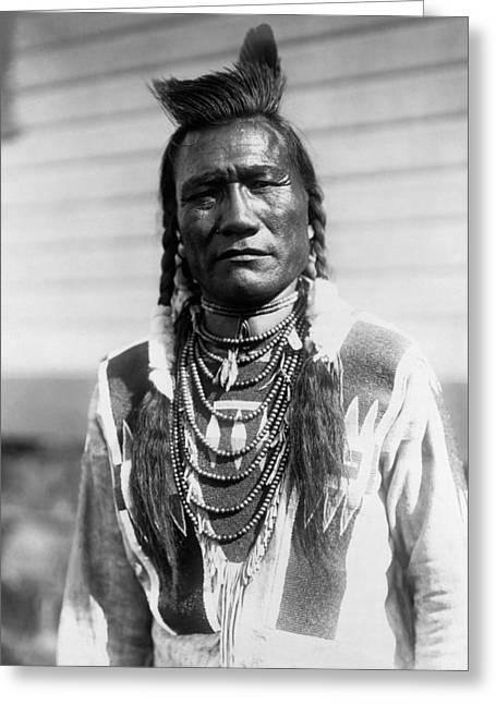Braid Greeting Cards - Piegan Indian Man circa 1909 Greeting Card by Aged Pixel