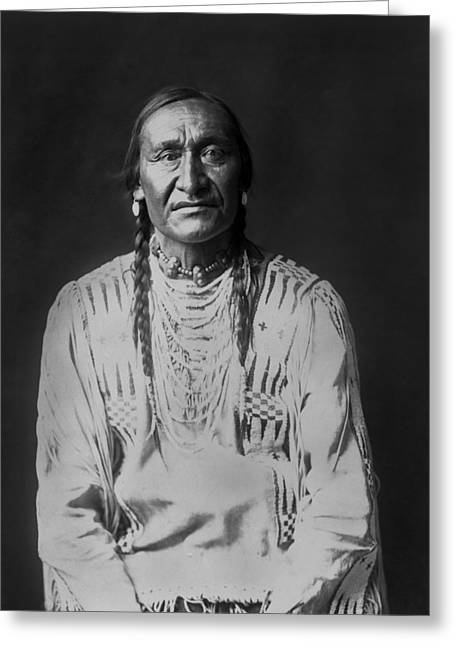 Braid Greeting Cards - Piegan Indian Man circa 1910 Greeting Card by Aged Pixel