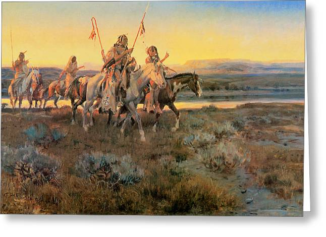 Western Western Art Greeting Cards - Piegans Greeting Card by Charles M Russell
