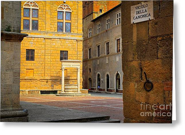 Mediterranean Landscape Greeting Cards - PIenza Buildings Greeting Card by Inge Johnsson