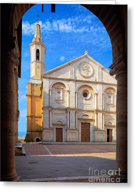 Christianity Greeting Cards - Pienza Duomo Greeting Card by Inge Johnsson
