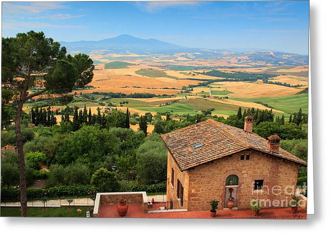 Pienza Greeting Cards - Pienza Landscape Greeting Card by Inge Johnsson