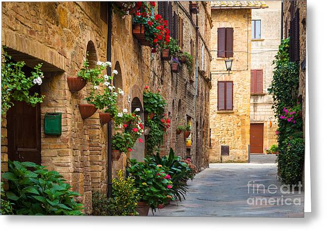 Buildings Greeting Cards - Pienza Street Greeting Card by Inge Johnsson