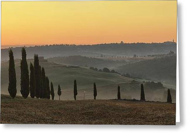 Europe Greeting Cards - Pienza Sunrise Greeting Card by Christian Heeb
