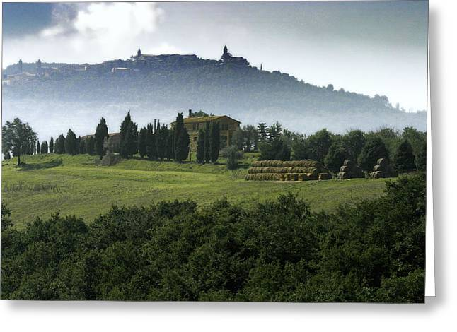 Pastoral Vineyard Greeting Cards - Pienza Tuscany Greeting Card by Al Hurley