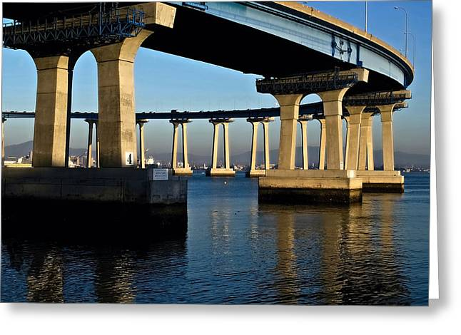 San Diego Harbor Cruise Greeting Cards - Pier 4- Coronado Bridge Greeting Card by See My  Photos