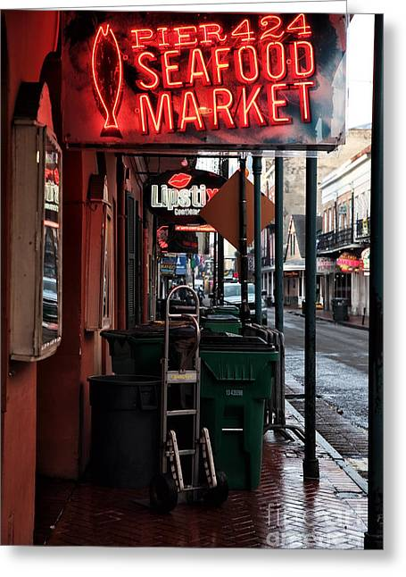 Rue Bourbon Greeting Cards - Pier 424 Seafood Market Greeting Card by John Rizzuto