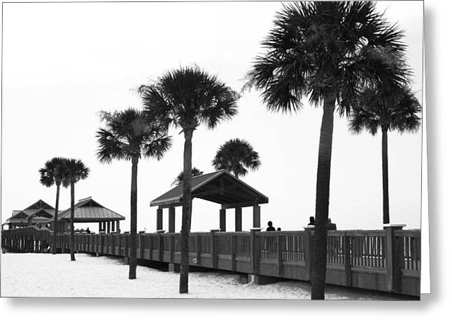 Quay Wall Greeting Cards - Pier 60 in monochrome Greeting Card by Nomad Art And  Design