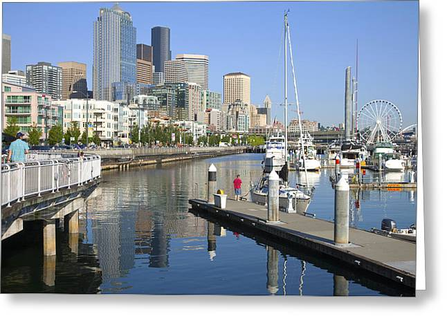 Modern Photographs Greeting Cards - Pier 66 marina Seattle skyline. Greeting Card by Gino Rigucci