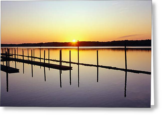Ocean Shore Greeting Cards - Pier And Pacific At Sunset, Oregon Greeting Card by Panoramic Images