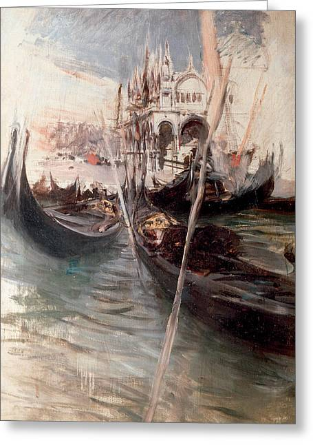 Art Of Building Greeting Cards - Pier and Saint Marc in Venice Greeting Card by Giovanni Boldini