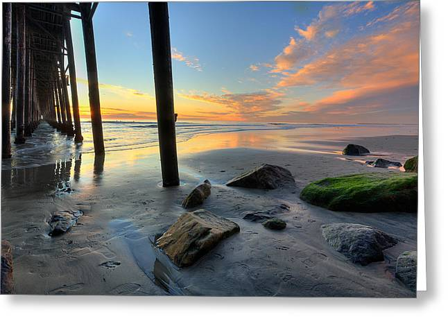 California Beaches Greeting Cards - Pier and Sunset Greeting Card by Peter Tellone