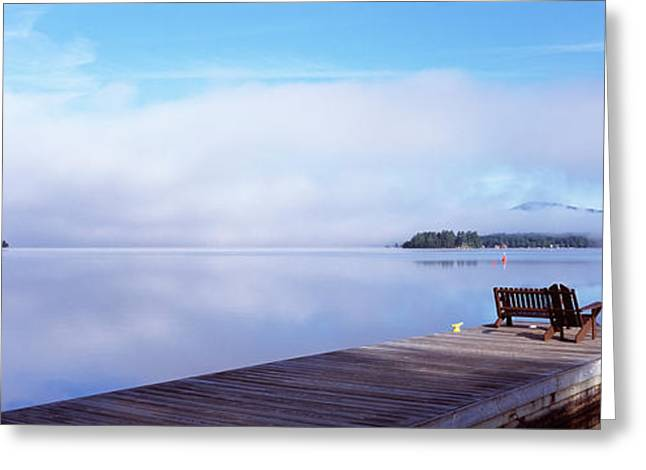 Fulton Greeting Cards - Pier At A Lake, Fourth Lake, Adirondack Greeting Card by Panoramic Images
