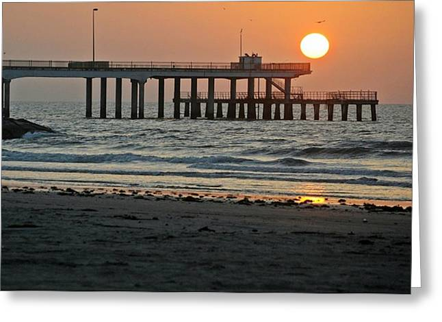 Galveston Greeting Cards - Pier at Dawn Greeting Card by John Collins