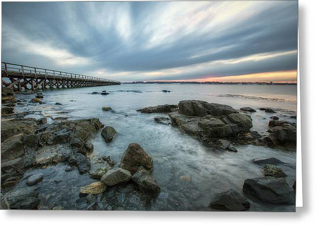 Maine Shore Greeting Cards - Pier at Dusk Greeting Card by Eric Gendron