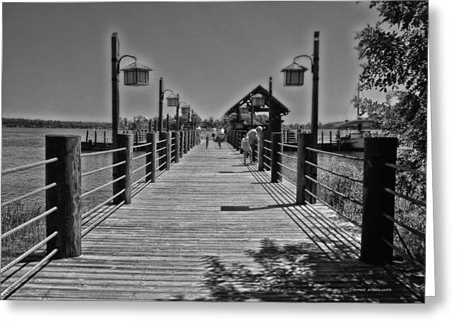 Pier At Fort Wilderness In Black And White Walt Disney World Greeting Card by Thomas Woolworth