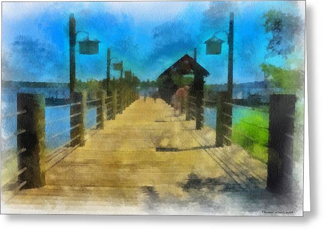 Hospital Theme Greeting Cards - Pier At Fort Wilderness WDW Photo Art 01 Greeting Card by Thomas Woolworth
