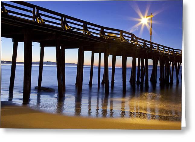 Santa Cruz Pier Greeting Cards - Pier at sunrise Greeting Card by Candice Armit
