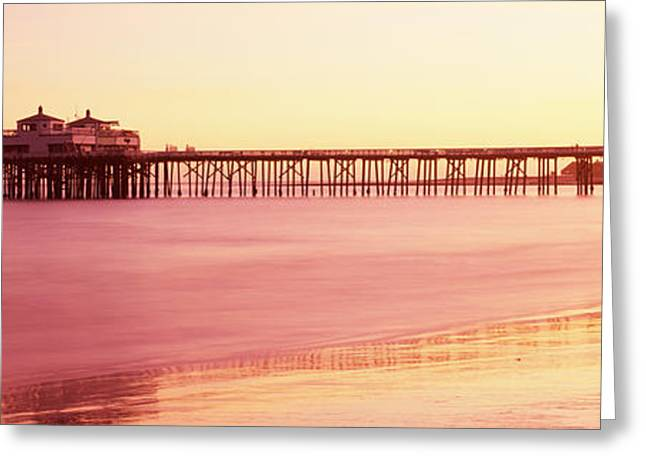 California Ocean Photography Greeting Cards - Pier At Sunrise, Malibu Pier, Malibu Greeting Card by Panoramic Images