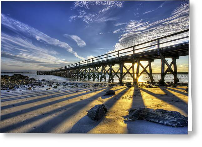Maine Beach Greeting Cards - Pier at Sunset Greeting Card by Eric Gendron