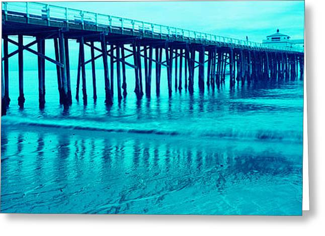 California Ocean Photography Greeting Cards - Pier At Sunset, Malibu Pier, Malibu Greeting Card by Panoramic Images