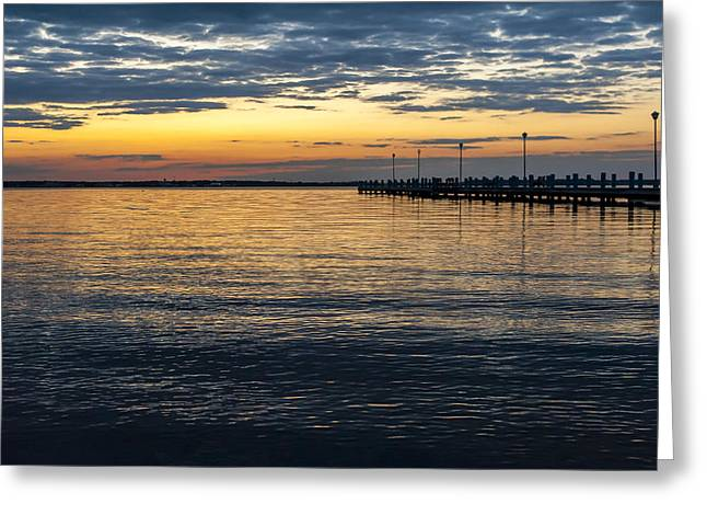 Beach At Night Greeting Cards - Pier at Sunset Seaside NJ  Greeting Card by Terry DeLuco